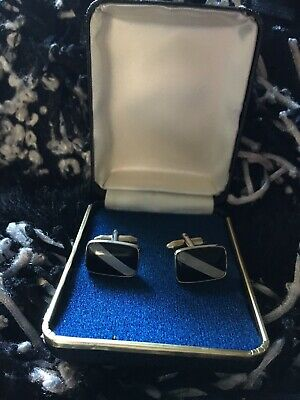 Cuff links Silver-plated Vintage Black & White Bar Fitting Boxed Vgc