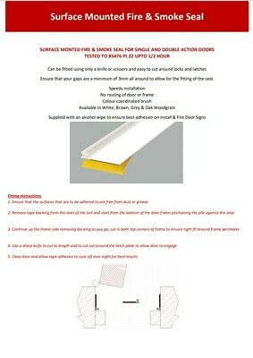 Self Adhesive Surface Mounted Intumescent Door Fire Smoke Seals Strip