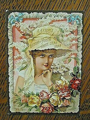1880's Laird's White Lilac Toilet Soap advertising card- beautiful woman/flowers