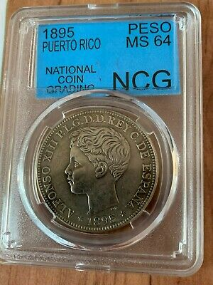1895 Isla De Puerto Rico One Peso In Box