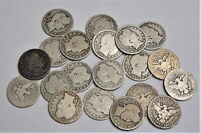 20 Circulated, Worn, Barber 90% Silver Quarters - Important Dates and Mintmarks
