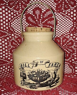 """""""Bill Of Fare"""" Ceramic Jar Container w/ Handle and Cork Lid - Bank? Coin Jar?"""