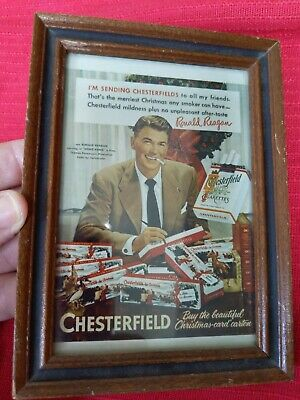 "RONALD REAGAN CHESTERFIELD CHRISTMAS AD 1950s? Framed 4"" X 6"""