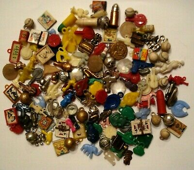 Huge 140 Lot Antique Gumball Vending Machine Charms Trinkets Cracker Jack Toys