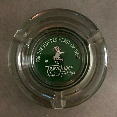 Vintage Mid Century Travelodge Highway Hotels Sleepy Bear Advertise Ashtray 4""