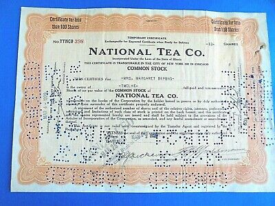 Vintage 1929 National Tea Company 12 Shares Stock Certificate