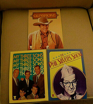 3 vintage Viacom TV Promo Cards Gunsmoke; My Three Sons; Phil Silvers 1982 NF