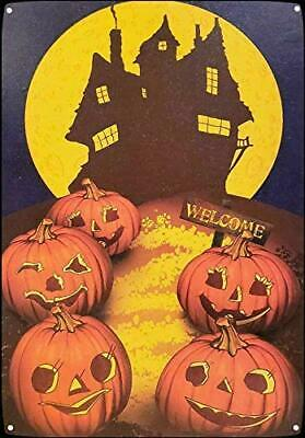 """Details about  /New Metal Tin Sign /""""Candy Corn Aunt Agatha Brand/"""" Witch Halloween Antiqued Ad"""