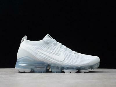 New Men's Nike Air Vapormax Flyknit 3 White Pure Platinum Size 7.5 Fast Ship