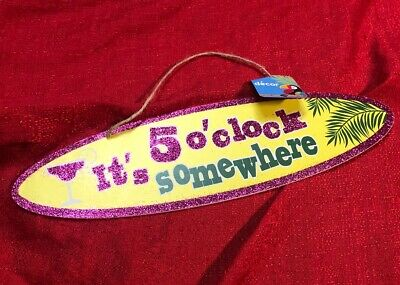 """Luau Party /""""It/'s 5 o/'clock Somewhere/"""" Hanging Sign Door//Wall Decor 15/"""" X 7.5/"""""""