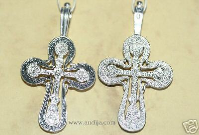 OLD STYLE BIG RUSSIAN ORTHODOX ICON CROSS, SILVER