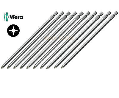 "10 x WERA Pz2/Pozi 2 Extra Long & Tough 152mm/6in 1/4"" Screwdriver Bit For Drill"