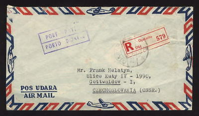 INDONESIA AIRMAIL PORT PAYEE REGISTERED COVER to CZECHOSLOVAKIA