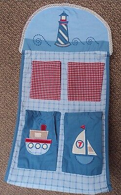 Wamsutta Yacht Club Baby Diaper Stacker Holder Sailboat Blue Nautical Hangs NEW