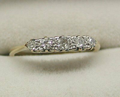 Lovely Old Antique Victorian 18ct Gold Five Stone Diamond Ring