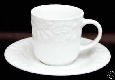 Gibson Designs White Embossed Fruit Cup & Saucer Set