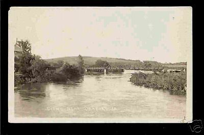 Danbury Iowa 1918/30 RPPC River Bridge & Farm House IA