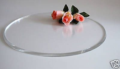 "12"" Chunky Round Clear Acrylic Cake Board Plate Stand"
