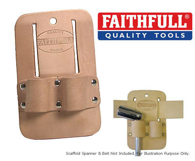 FAITHFULL Tan Leather Double Scaffold Spanner/Podger Holder Frog Pouch, FAISSHD