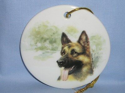 German Shepherd Dog 3 In Round Christmas Tree Ornament Porcelain Fired Decal-L