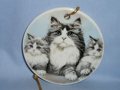 Grey/White Persian Cat Family 3 In Round Porcelain Christmas Tree Ornament Decal