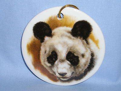 Panda Bear 3 Inch Round Porcelain Christmas Tree Ornament Fired Head Decal