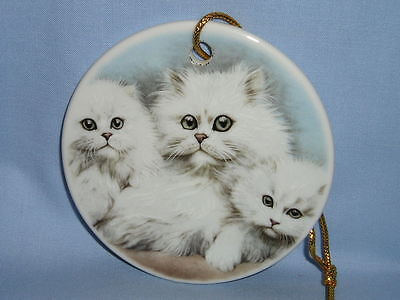 White Persian Cat Family 3 In Porcelain Christmas Tree Ornament Fired Decal-R