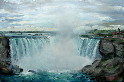 "Niagra Falls, Horseshoe Falls, Giclee art print on canvas,24""x36"" by Star"