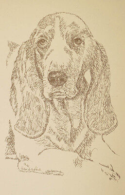 BASSET HOUND DOG ART Portrait #36 Kline adds your dogs name free. GREAT GIFT