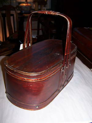 Chinese Antique Bamboo Basket w/Lid