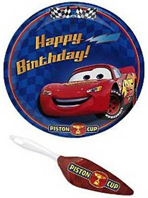 NEW ~ DISNEY CARS ~ LIGHTNING MCQUEEN ~ 2-Pc Set = BIRTHDAY CAKE PLATE + SERVER