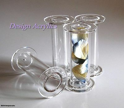 "4 x 4"" CHUNKY CLEAR HOLLOW ACRYLIC WEDDING CAKE PILLARS"