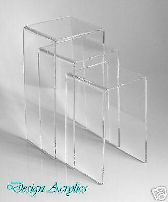 3  Tall Acrylic Bridge Display Stands Risers Plinths