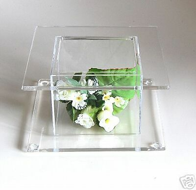 Square Crystal Clear Acrylic Cake Stand Wedding Display