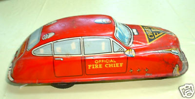Tin Litho Friction Official Fire Chief Car  Japan