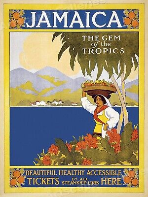 1930s Spend Your Holidays in Jamaica Vintage Style Pirate Travel Poster 24x32