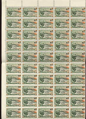 URUGUAY 1966 ARCHITECTS ANNIV.4c OPT...SHEET 100 stamps