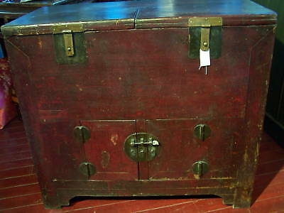 Antique Chinese Money Chest (Bank) w/Doors