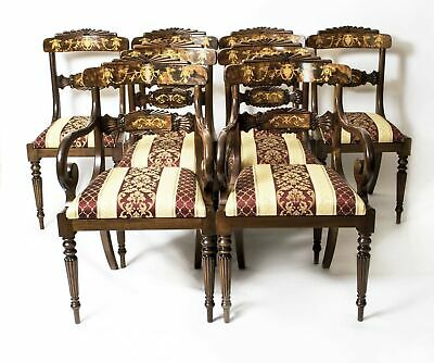 Set 8 Burr Walnut Marquetry Regency Dining Chairs
