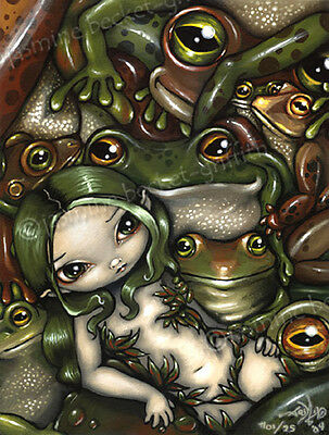 Bed of Frogs frog fairy gothic fantasy art CANVAS PRINT