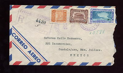 Guatemala 1946 Airmail Registered Cover..3 Col.franking