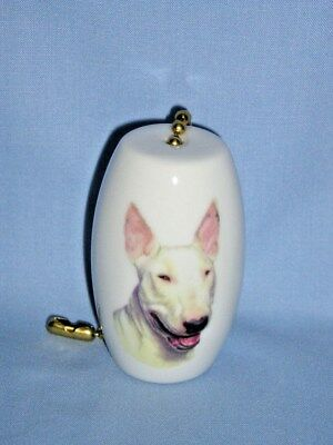 English White Bull Terrier Dog  Fan & Light Pull Porcelain 2 In long 6 In chain