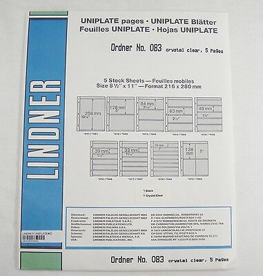 Lindner Uniplate Clear Stock Sheets #83 3 Vertical Strips 5 Pages