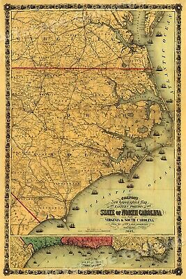 Colton's 1861 Map of the State of North Carolina - 24x36