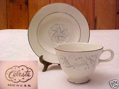 """HOMER LAUGHLIN CELESTE CUP AND SAUCER SET FOOTED 2 5/8"""""""