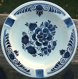 Blauw Delfts Distal Floral Ashtray Made In Holland