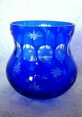Impressive Cobalt Blue Cut to Clear Glass Rose Bowl / Votive / Vase