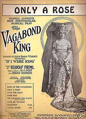 1925 Henry Waterson Sheet Music ONLY A ROSE from Vagabond King by Rudolf Friml