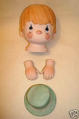 Hand Painted Precious Moments PORCELAIN BISQUE CLOWN Face DOLL Head, Hands & Hat