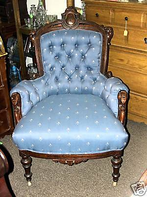 Victorian Solid Wood Parlor Chair 2 Wooden front Wheels